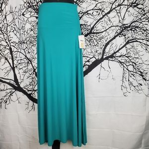 LuLaRoe Maxi Skirt Teal Blue Floor Length XS